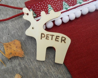 Personalized Gift Tag Personalized Name Tag Christmas Tag Personalized Christmas Gift Tag Personalized Tag Deer Tag Reindeer Tag Wood Tag