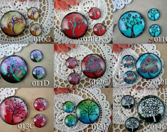 Photo Glass Cabochons Glass Tiles Glass Inserts Handmade 1x25mm +2x12mm Circle digital college sheet cabochons TREE of LIFE Series