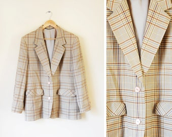 Vintage beige checked wool blazer fully lined UK 16