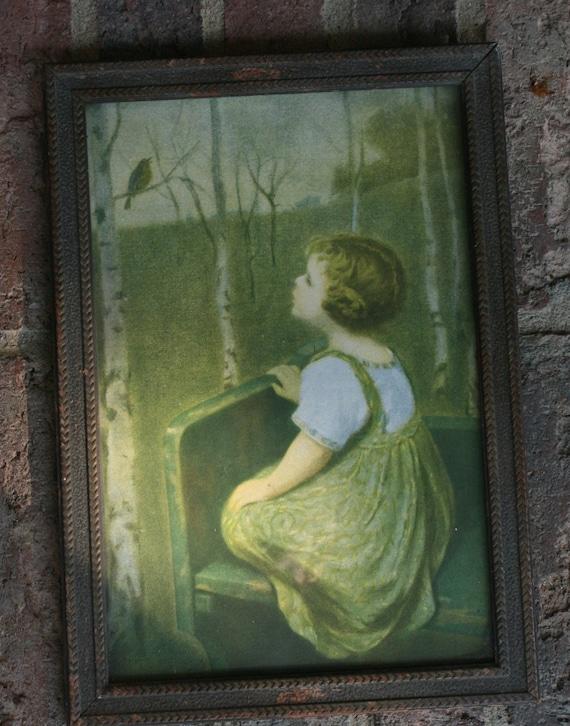 Antique Framed Print Little Girl Bird By Bluebirdcreekvintage