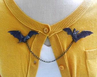 Bat Sweater Guard Brooch- Halloween Spooky Gothic Psychobilly Rockabilly Pin Up Horror Jewelry