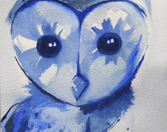 Owl Watercolor Painting - Owl Painting - Blue Owl - Giclee Print - 8x10