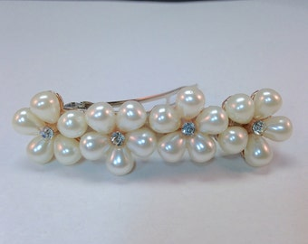 Pearl Hair Barrette|Bridal Pearl Hair Barrette|French Fancy Barrette|Wedding Barrette