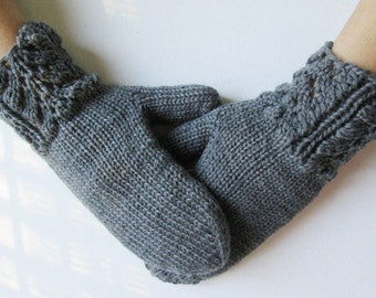 Knitted merino wool mittens, Women's gray gloves, Mittens Knitted , Woman gloves, Handmade
