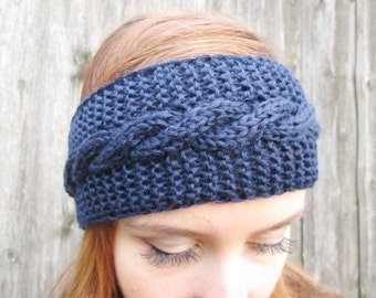BLACK FRIDAY SALE! Ready to ship! women headband winter headband knit  blue headband knitting Headband Earwarmer Head Wrap dark blue,