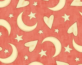 Fat Quarter Expressions of Faith -Hearts Moon Stars in Salmon- Cotton Quilt Fabric-Bethany Shackelford - Quilting Treasures- 23608-C (W2427)