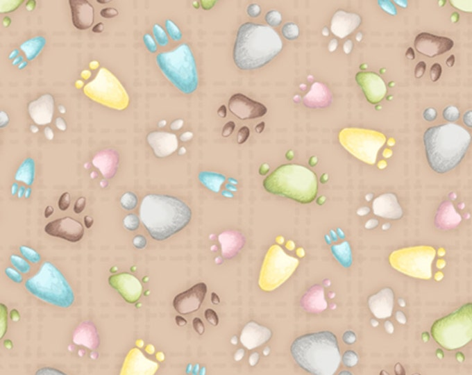 Half Yard Snuggle Buddies - Paw Prints in Light Cocoa Brown - Cotton Quilt Fabric - Stacey Yacula for Quilting Treasures - 23436-A (W2272)