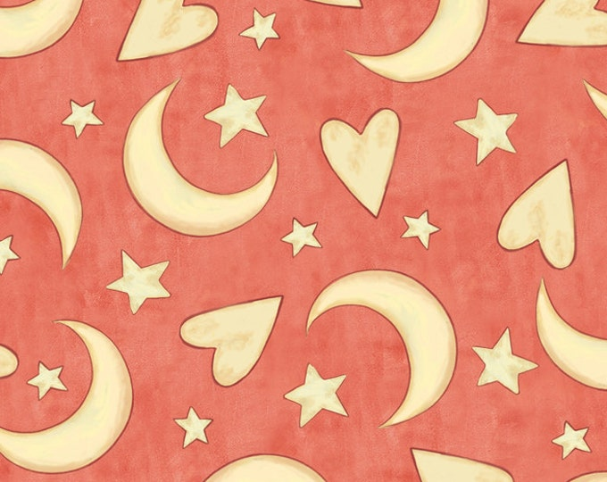 Half Yard Expressions of Faith -Hearts Moon Stars in Salmon- Cotton Quilt Fabric-Bethany Shackelford for Quilting Treasures- 23608-C (W2427)