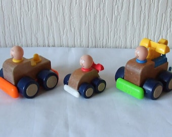 3 Vintage Playskool Wooden Toy Cars 1988