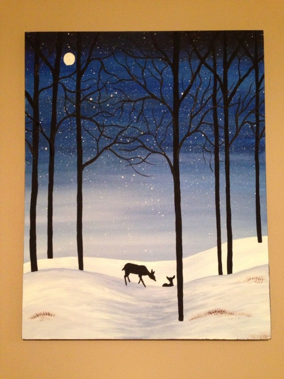 Winter paintingsnow paintingdeer paintingblue paintingsnow Christmas card scenes to paint