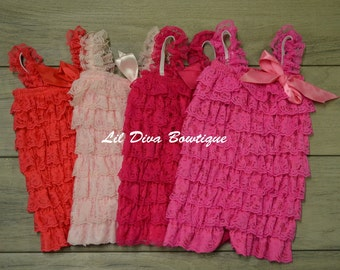 Newborn Lace Petti Rompers W/ Matching Headband-Solid Color Rompers-Choose your Color/Size!!  Newborn-Toddler Lace Petti Rompers
