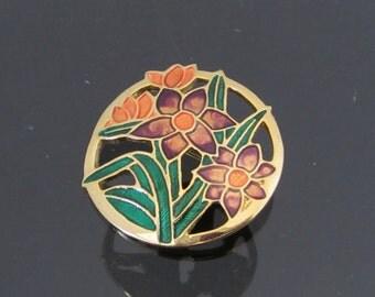 Vintage Jewelry Gold-Tone Enamel Flower Pin Brooch