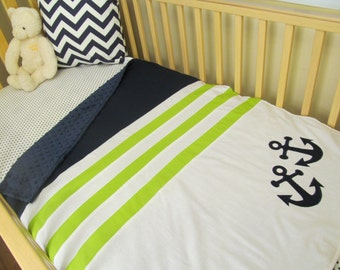 Nautical Baby Boy Crib Bedding - Minky Blanket, Sheet and Crib Skirt Navy & Lime