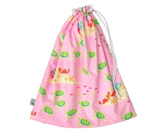 Waterproof Beach Bag. Toddler Girl Wet Bag. Swim Bag. Pul Fabric. Swimming Bag. Large Wet Bag. Large Drawstring Bag. Wet Dry Bag. Pink Bag.
