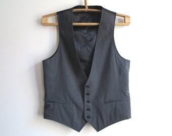 Grey Striped Mens Vest Formal Waistcoat Gentlemen's Steampunk Vest Medium Size