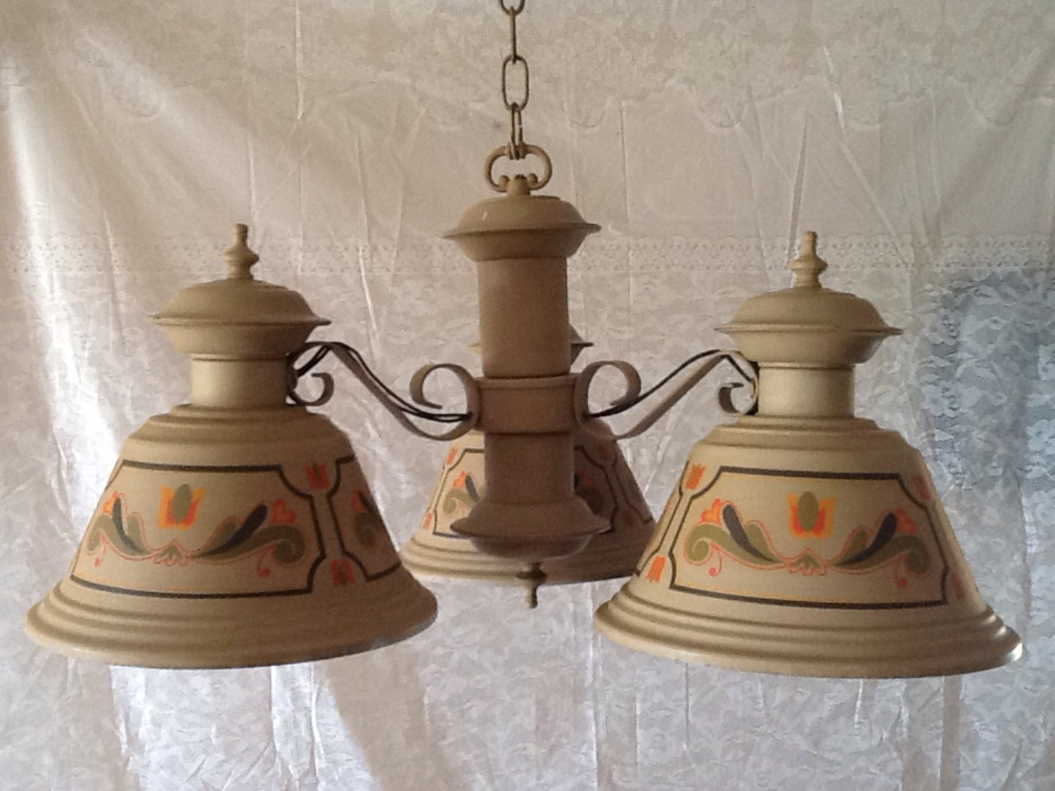 Tole French Country Vintage Chandelier 3 Light By