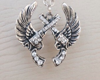 Gun and Wings Necklace Crossed Pistol Necklace Rhinestone Gun Necklace Double Gun girl Country Necklace Gun Angel Wings pistol angel wings