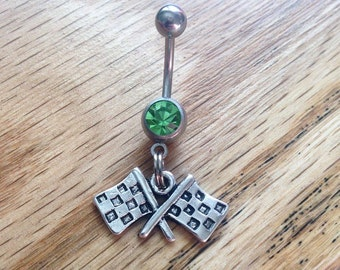 Racing Checkered Flag Belly Ring double flag crossed flag belly ring race car racing race belly ring country belly ring racing cowgirl naval