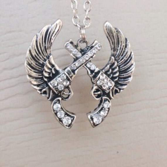 Gun and Wings Necklace Crossed Pistol Necklace Rhinestone Gun