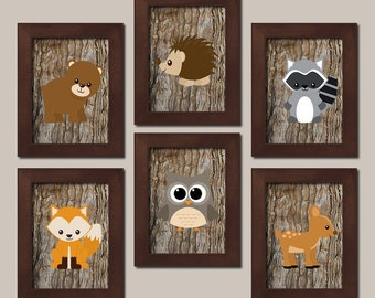 Woodland Nursery Art Boy Nursery Decor Forest Animals Bear Deer Fox Owl Raccoon Baby Shower Gift Nursery Pictures Set of 6 Prints Or Canvas