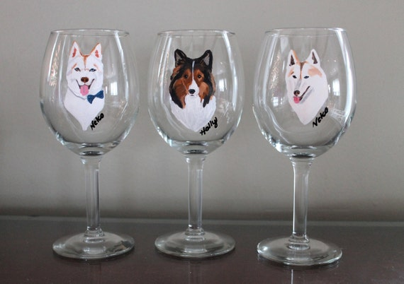 Painted Wine Glasses Malamute