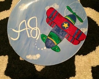 Hand Painted Children's Airplane Dish or Platter