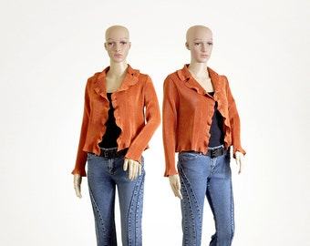 ruffle cardigan bronze silk ribbed vintage 90s 1990s orange long sleeves womens top size PETITE MEDIUM