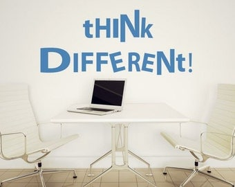 """Wall decal quote """"THINK DIFFERENT"""" for office,living room,bedroom, typography decal,quote decal, vinyl decal, vinyl stickers"""