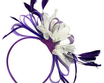 Purple & White Fascinator on Headband Alice Band Wedding Ascot Races Loop Net