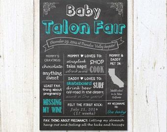 Baby boy Shower Chalkboard sign printable - Baby Boy Shower gift - Mom to be chalk board baby shower gift - DIGITAL FILE!