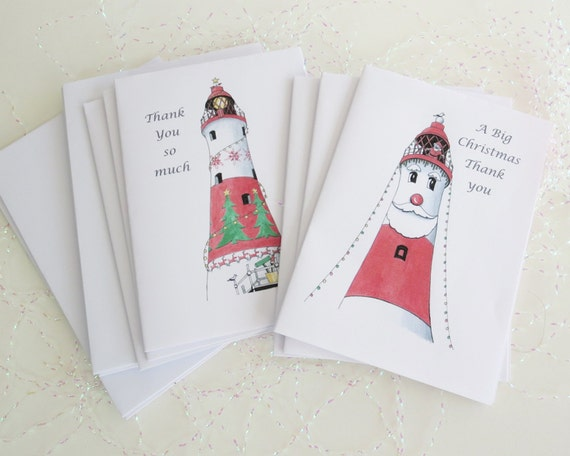 Print Your Own Christmas Thank You Notelets, 2 designs