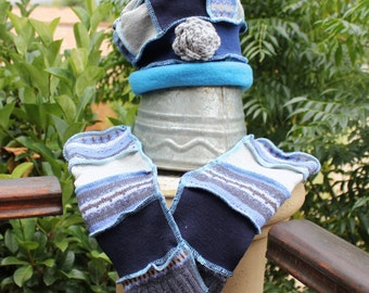 Beanie and Arm warmer set , Ladies Hat , Patchwork Beanie , Fingerless gloves, Up cycled sweater , Boho hat , Scrappy hat , Hippie style