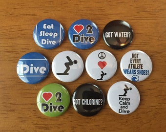 Diving Buttons Set of 10 - Buttons Pinback Buttons 1 inch Swimmer Gift, Diving, Diver, Swim, Swimming