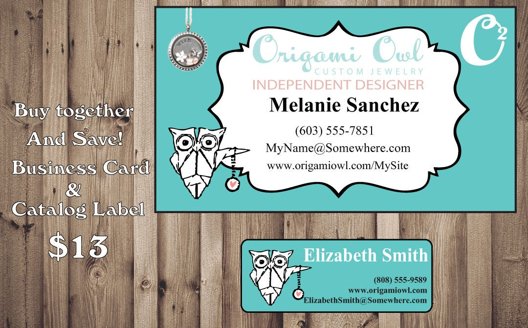 Origami owl business card catalog sticker by digidoodler for Owl business cards