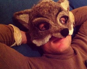 Needle Felted Wolf Mask