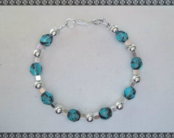 blue bracelet, light blue bracelet, crystal bracelet, turquoise