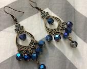 Diwali Inspired Blue and Brass Earrings