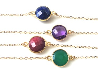 Amethyst, Ruby, Lapis or Green Onyx Necklace, Gold Gemstone Necklace, Gold Filled Chain, Bridesmaids Jewlery