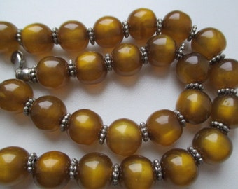 Vintage Tiger Eye Handmade Women Beaded Necklace