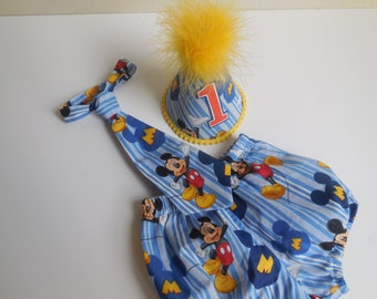 Adorable Baby Boy Outfit / Toddler Cake Smash Birthday /3 Pieces Set(Diaper Cover,Tie &Party Hat ) /Mickey  Mouse on Blue Stripes /