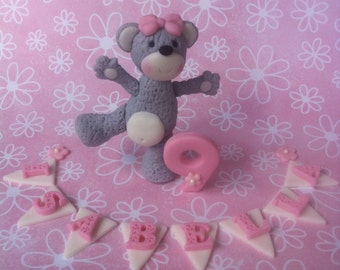 Teddy Bear, number and bunting Fondant Cake Set
