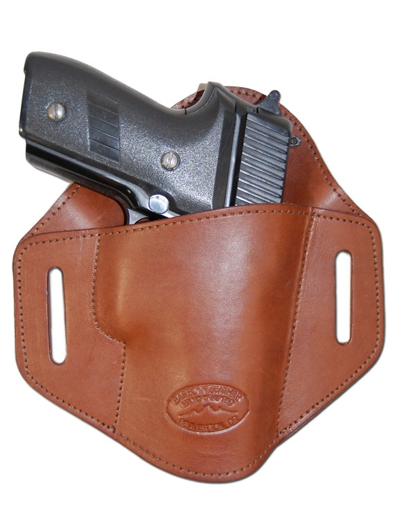 new brown leather pancake belt slide gun holster for size