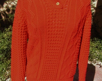 Vintage 70s Ladies Red Pullover Sweater by San Francisco Connection in Medium Made in Hong Kong