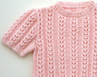 "Toddler gift,Easter,Flower Girl,Baby Girl,Hand Knitted Sweater,Lace,  Pink Sweater - ""Pink Shimmer """