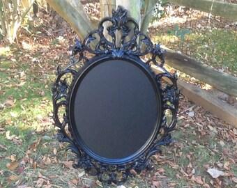 Large Black Oval Ornate Baroque Chalkboard Frame / Framed Chalk Board