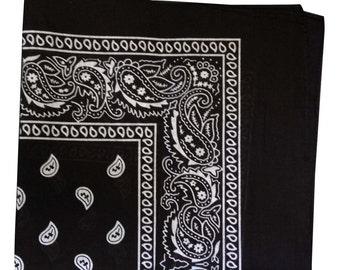 "22"" x 22"" Bandana -  Black Paisley 100% Cotton"