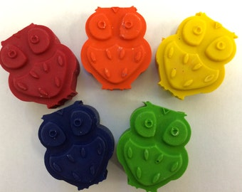 15 Sets of 5  Woodland Owl  Crayons -  Birthday Party Favors
