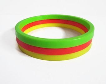 Three Circus Rings, Disney on Parade Miniature Play Set, Marx Toys, Vintage Disney, Green Orange Yellow Plastic Circles