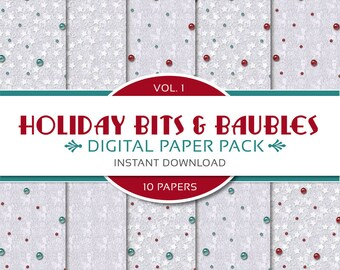 Holiday Bits & Baubles Digital Papers Vol. I: Printable Scrapbook, Christmas Holiday Papers - Instant Download