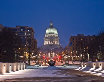 The Snowy Capital at Dusk, Madison, WI -  Color Photography Luster Poster of the beautiful Capital building